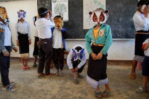 Loris masks in villages